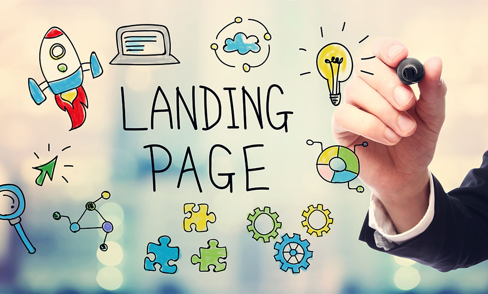 businessman drawing out concept of landing page