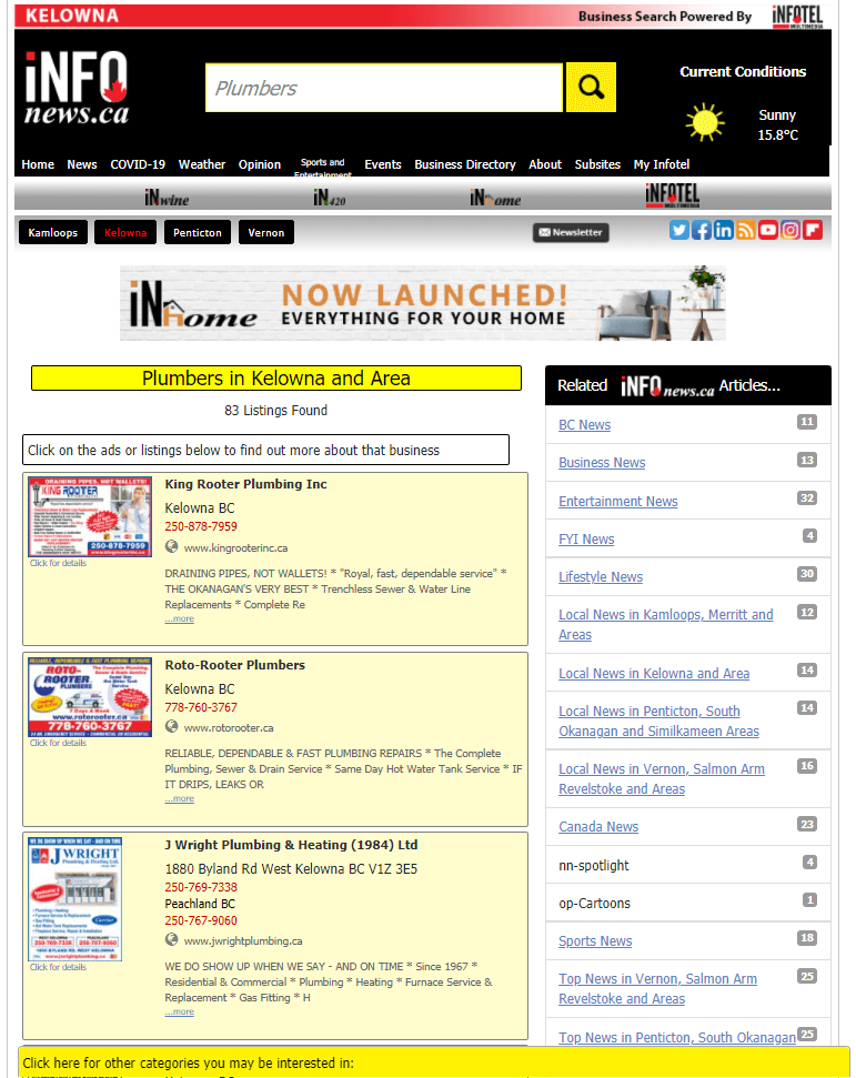 results of a search from the iNFOnews.ca site